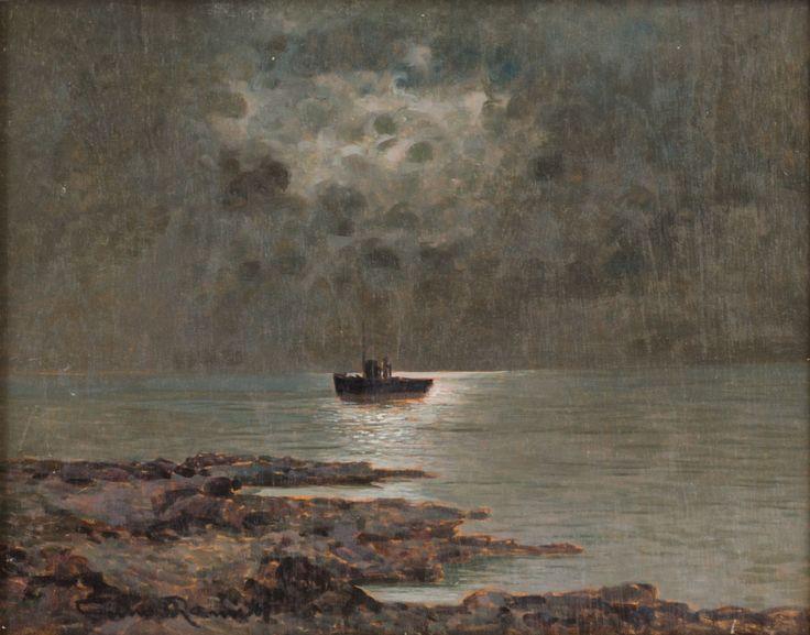 """GINO ROMITI (Livorno 1881 – 1967) OLIO su tavoletta """"paesaggio marino notturno"""", firmato in basso sinistra."""