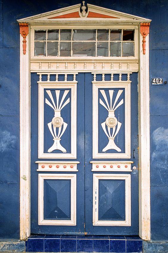Castro, Chiloe' Island-Chile Blue painted wood door. © Roberto Soncin Gerometta 2003