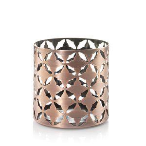 Jar Holder-Moroccan Copper  Metall ljushållare som passar för M och L burkar.  Mått: höjd. 102 x b 105 x d 105 mm