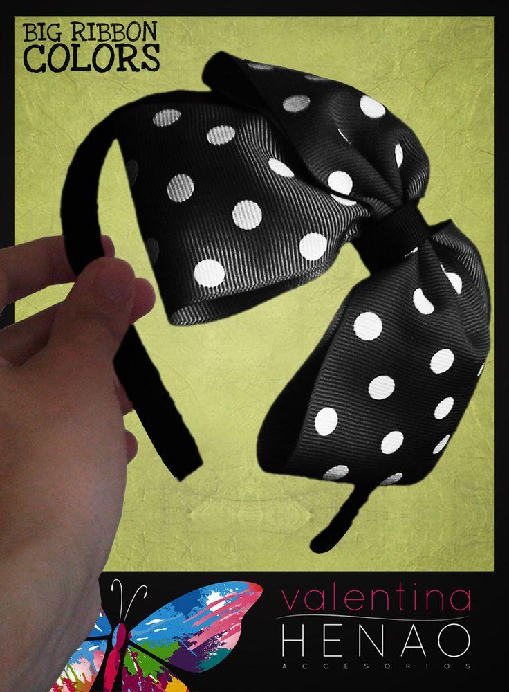 Diadema moño grande cinta pepas negro