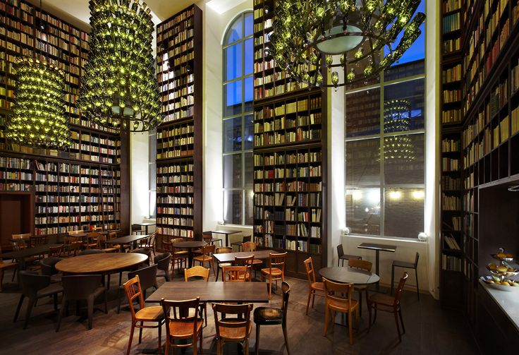 Library Lounge – B2 Boutique Hotel Zurich. The library features over 30,000 books that the hotel acquired from a former bookseller and is open for business during your stay.