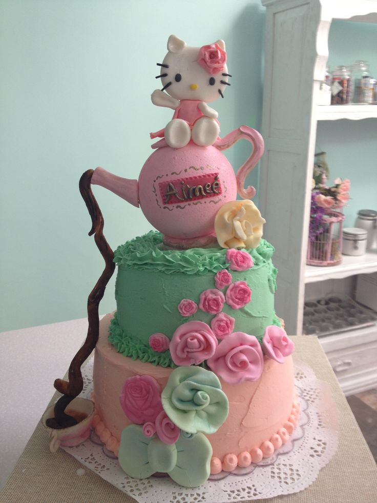 Pastel De Hello Kitty Para Tea Party Mis Pasteles