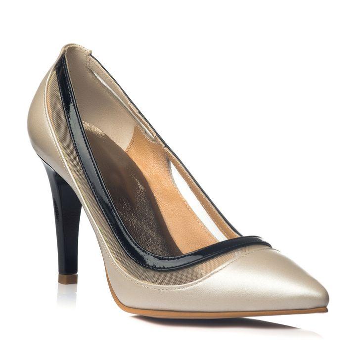 DARE TO WEAR >> Pantofi stiletto Crem sidefat