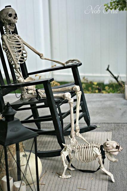 Nob Hill - outdoor halloween skeleton display ideas - halloween decor #skeletons #halloween #halloweendecor