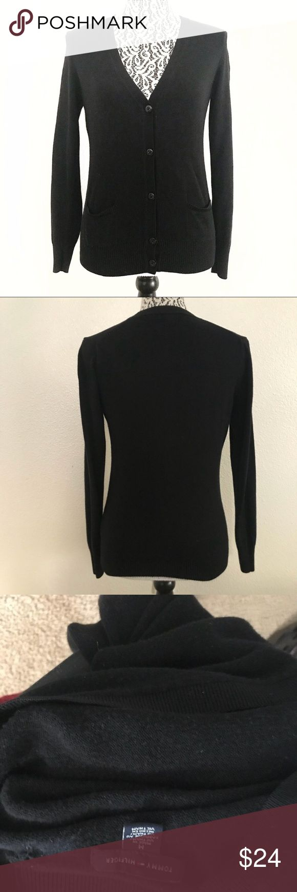 "Tommy Hilfiger classic black cardigan medium Pit to pit 18"" Sleeve 22"" Shoulder 13"" Length 22"" Tommy Hilfiger Sweaters Cardigans"