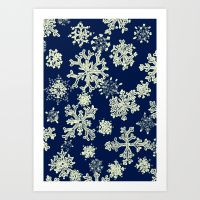 Snowflakes (blue background) Art Print