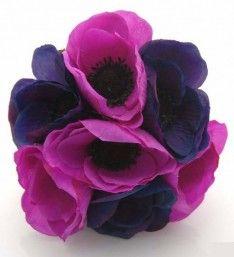 Cerise Pink & Purple Silk Anemone Childrens Wedding Posy