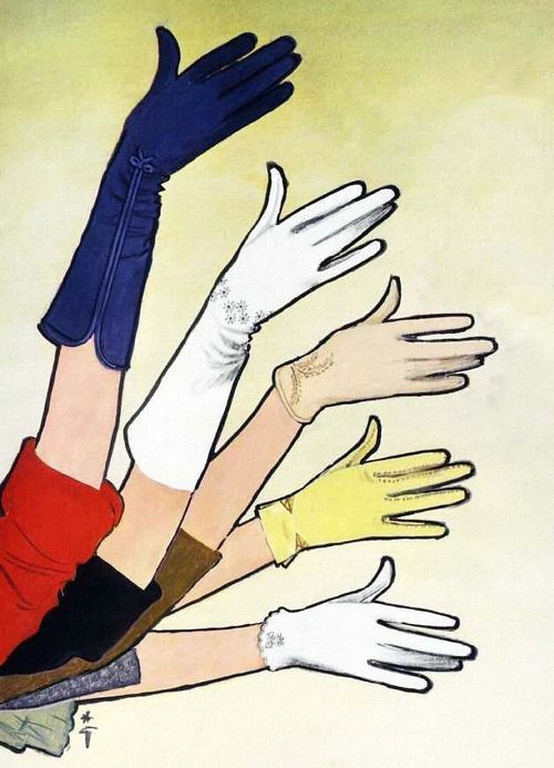 Crescendoe Gloves - detail from 1963 ad. Art by Rene Gruau.