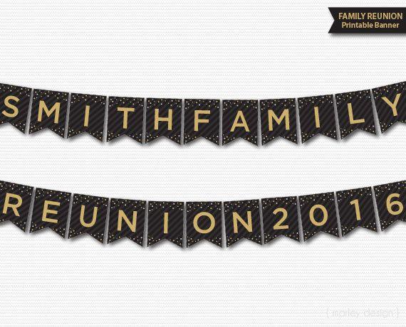 Family Reunion Banner Printable Personalized Customized Black Gold Elegant Printable Banner Reunion Banner DIY Reunion Decorations DIY Decor