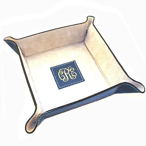 Men's Leather Valet Tray  Personalize this Leather by #RumorsGifts, $39.95. (This helps clean up all his stuff around the house!)