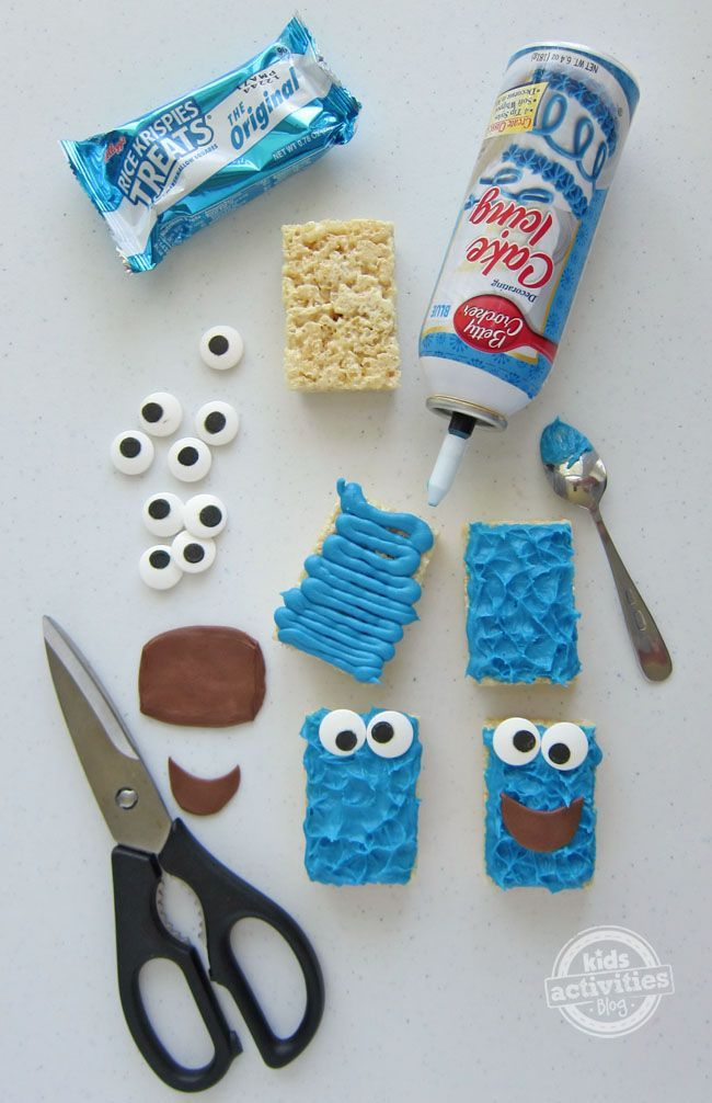 Cookie Monster Rice Krispie Treats I think I could turn these into Minions, too.