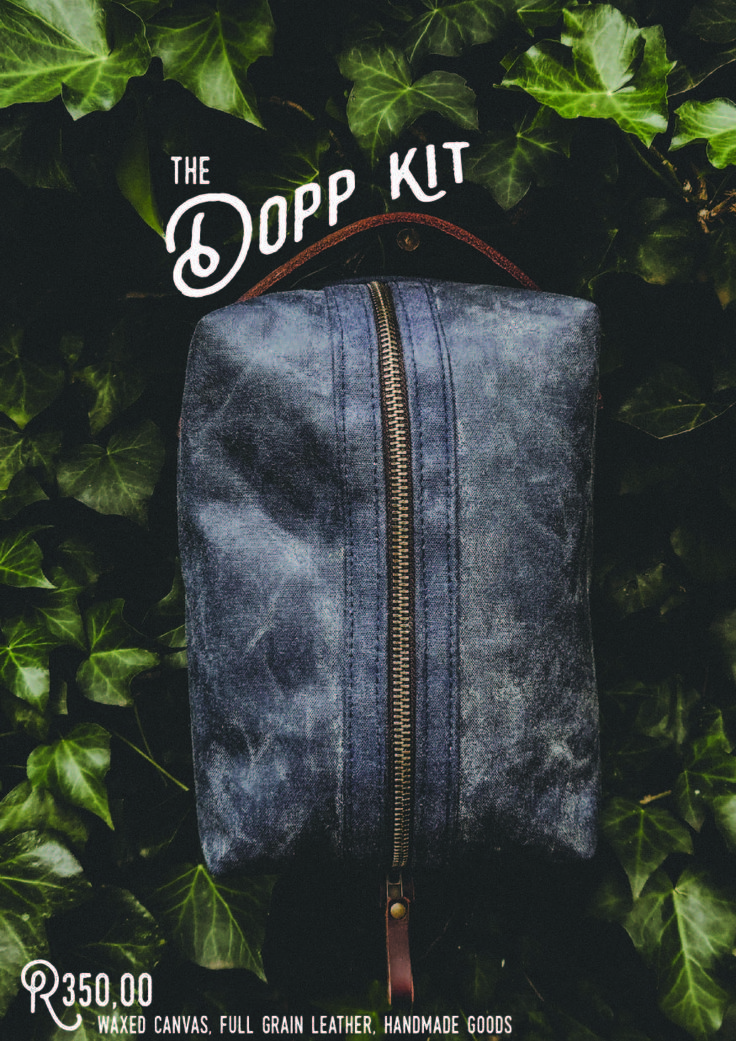 The Dopp Kit. Waxed canvas exterior with a waterproof ribstop canvas inner. Full grain leather handle. Clean and simple design; made to last. (Available in Navy Blue and Olive Green)