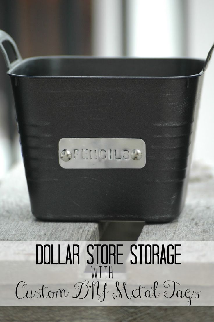 Craft supply storage containers - Dollar Store Storage Bins With Custom Metal Tags