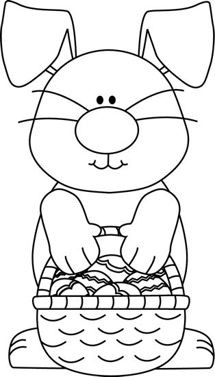 Black and White Bunny with an Easter Basket Clip Art - Black and White Bunny with an Easter Basket Image