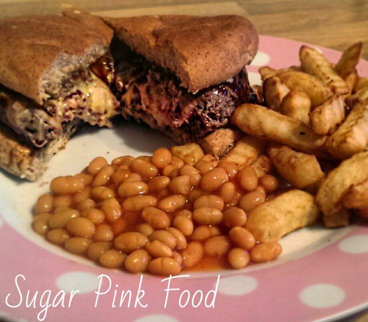 Sugar Pink Food: Recipe:- Cheese, Bacon and Onion Stuffed Burgers &...