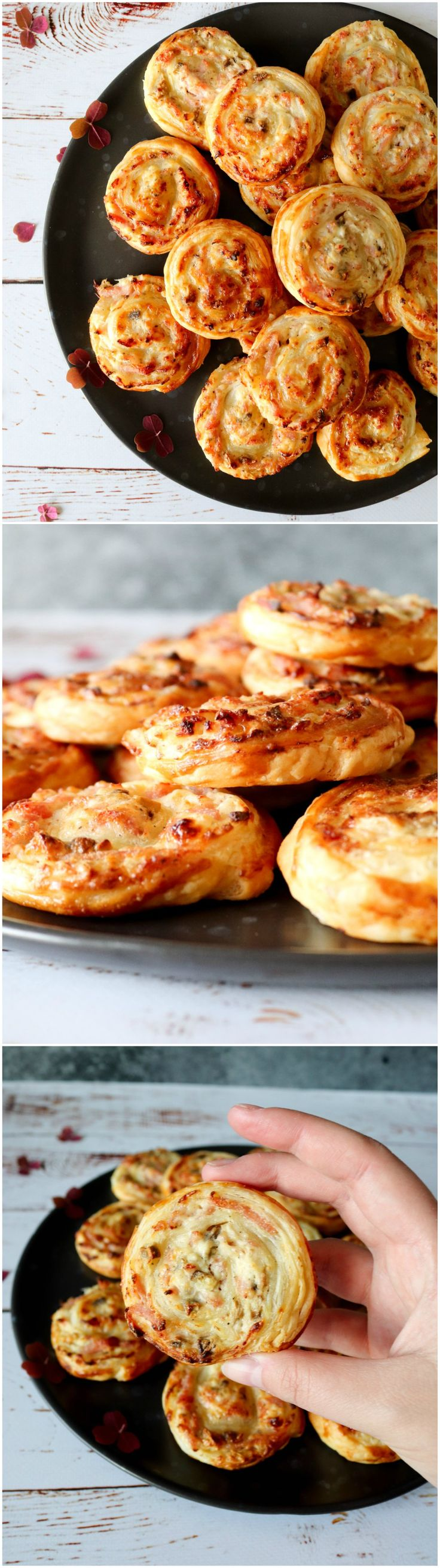 Puff Pastry Rolls With mushrooms, ham and cream cheese. A great snack for New years Eve.