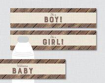 Rustic Baby Shower Water Bottle Labels Printable - Wood and Burlap Rustic Baby Shower Water Bottle Labels -  Instant Download - 0034
