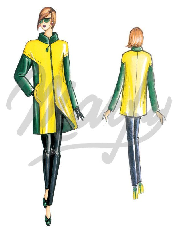 Marfy 3764 -Fabric required bright fabric mt 1 00 wide 1 40 - Dark fabric mt 1 30 alt 1 40 Available from size 42 to 48 '60s-style slightly flared mini-coat with shapely geometric seams low set-in sleeves zip fastening and mock neck Suggested fabric lightweight two-tone flannel
