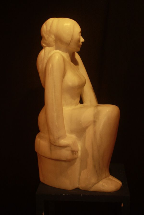 Vermont Marble #sculpture by #sculptor Marie-Jos�e Leroux titled: 'The Priestess (Carved Sitting Stylised woman Pondering Thinking statue)'. #MarieJos�eLeroux