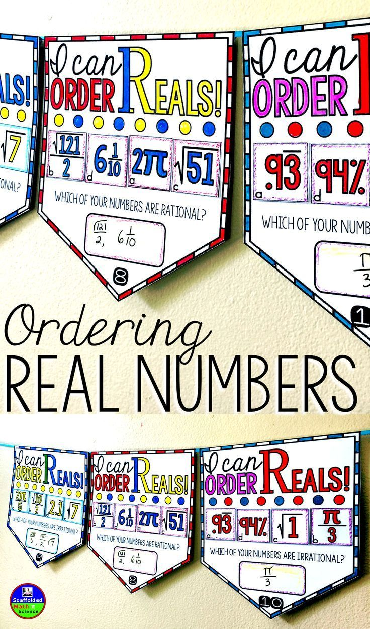 """Students order Real numbers in this math pennant activity that doubles as classroom decor. Each pennant comes with 4 Real numbers to order. Students cut out their 4 numbers and order them from least to greatest before pasting them onto their pennant. Real numbers include: terminating and repeating decimals, terms with pi, fractions, mixed numbers, perfect squares, imperfect squares, negatives. On each pennant there is an additional question for students to answer, such as """"Which number is…"""