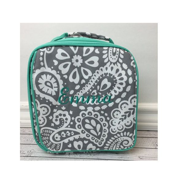 Grey Paisley Lunch Bag for Girls, Insulated Lunch Bag, Lunch Cooler, Cute Lunch Bag for Girl, Monogrammed Lunch Bag, Lunch Bag for Children