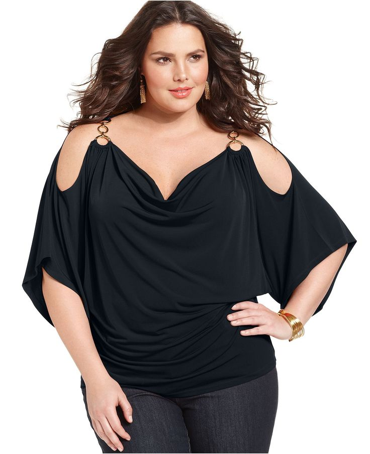 MICHAEL Michael Kors Plus Size Top, Kimono-Sleeve Shoulderless Jersey - Plus Size Dresses - Plus Sizes - Macy's