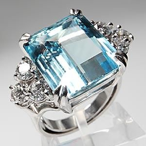 VINTAGE ESTATE EMERALD CUT AQUAMARINE & DIAMOND COCKTAIL RING SOLID 14K WHITE GOLD