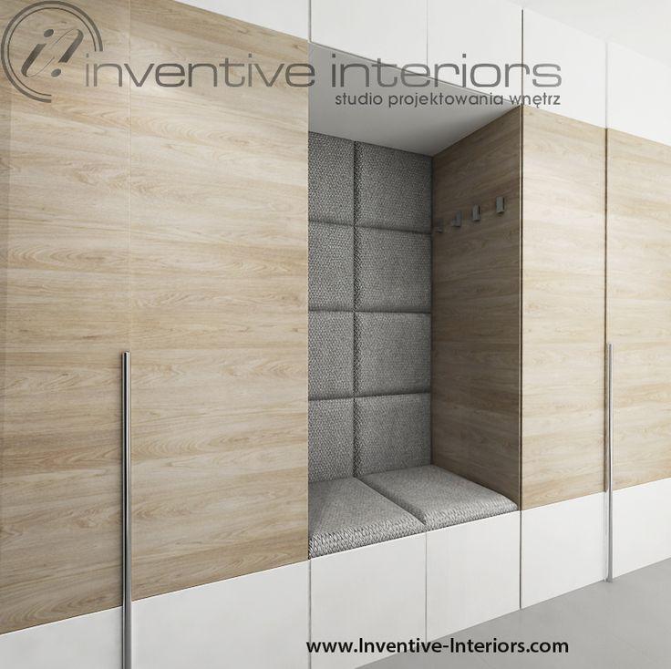 Projekt przedpokoju Inventive Interiors - zabudowa z siedziskiem w przedpokoju