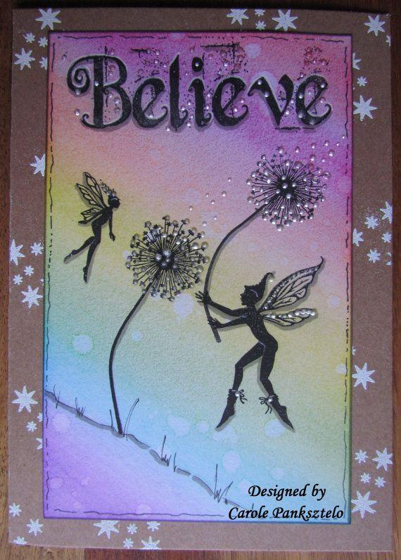 Whimsical Fairy greeting card  Believe  Feminine by CraftyMrsPanky
