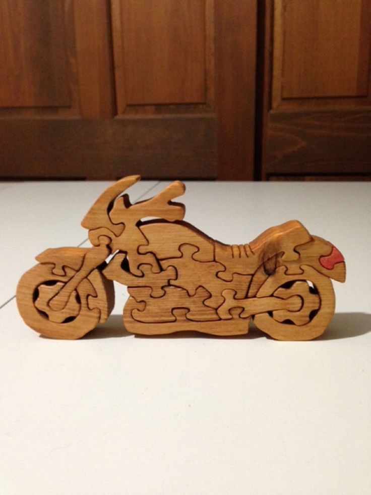 Wooden Motorcycle - Cruiser Puzzle - Handmade -19 Pieces - Stained