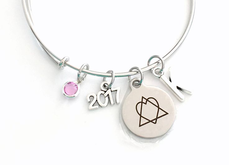 Adoption Bracelet 2017, Gotcha Year Gift for New Mom Parent Jewelry Adopt Symbol Charm Bangle Silver initial Birthstone Birthday Present her by aJoyfulSurprise on Etsy