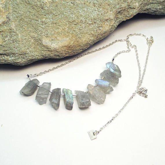 Labradorite Necklace Raw Crystal Jewelry Healing Crystals