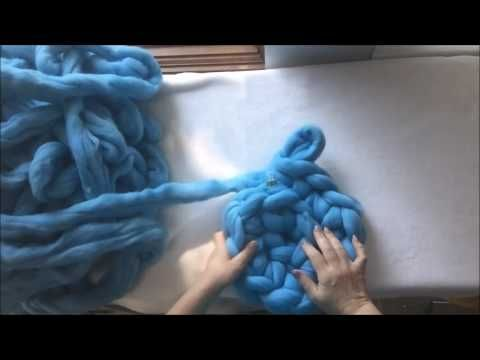 How to arm crochet a giant Merino wool circular rug with BeCozi - YouTube