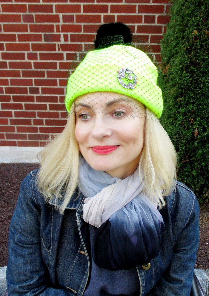 Magdalena of #prettycripple wearing our #veil #beanie with customized vintage inspired brooch.