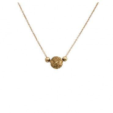 Πρωτότυπο κολιέ σφαίρα κίτρινο χρυσό Κ14 διακοσμημένο με δύο κίτρινες χρυσές μπίλιες στα πλάγια | Κοσμήματα ΤΣΑΛΔΑΡΗΣ στο Χαλάνδρι #σφαίρα #χαλαζίας #χρυσό #κολιέ