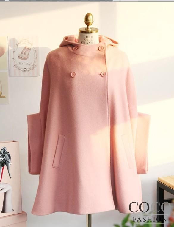 Pink Hooded Cute Poncho Coat with Little Bow at The Back