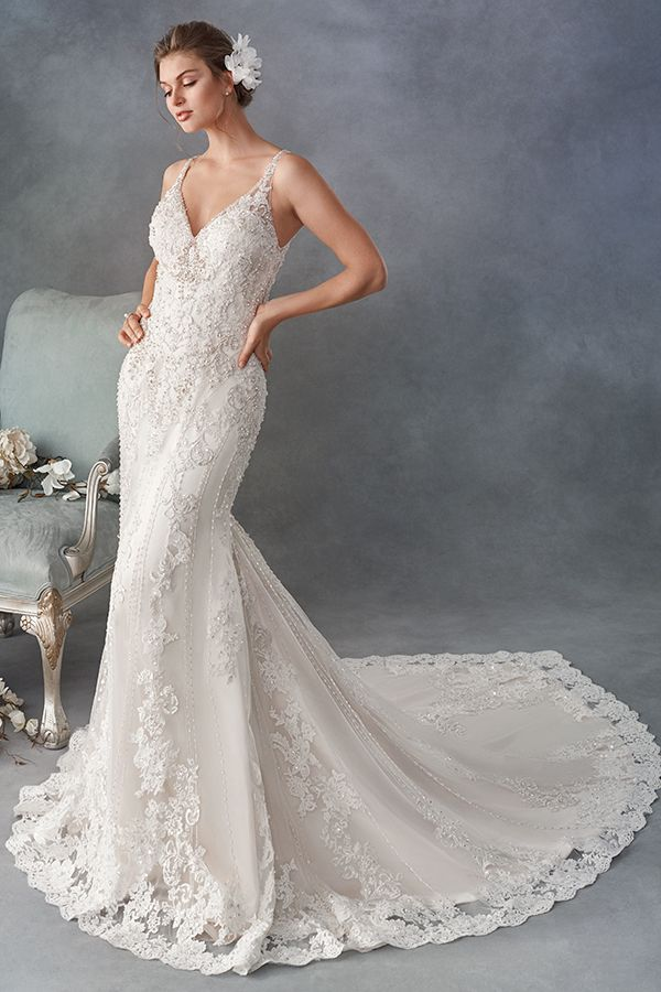 Kenneth Winston Style 1796 Beautiful Lace Mermaid Gown V Neckline Lace Illusion Open Back Wedding Dresses Wedding Gowns Mermaid Ball Gown Wedding Dress