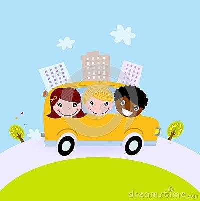 Cute kids in school bus on the hill by Jana Guothova, via Dreamstime