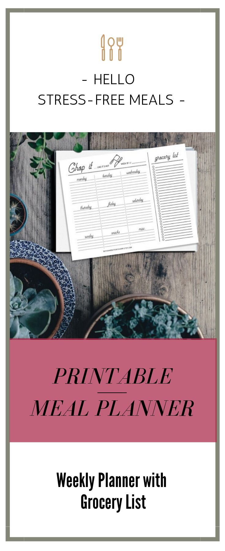 """Ready to never have to ask """"what's for dinner?"""" again?  Print out this weekly meal planner and grocery list and have a stress-free week with amazing meals and a happy family.  #printables #organizedhome #ad #mealplanning"""
