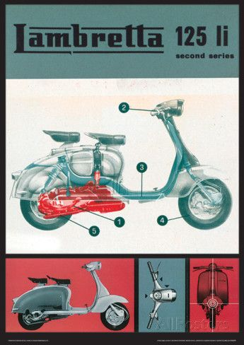 Lambretta Scooter (125 Li) Vintage Style Poster Masterprint at AllPosters.com