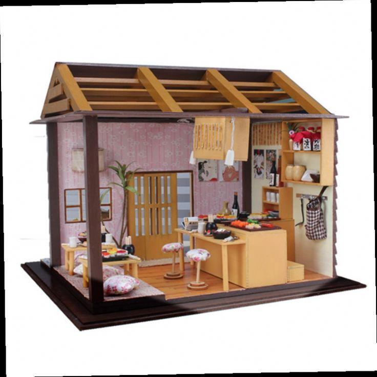 47.49$  Buy here - http://ali5vi.worldwells.pw/go.php?t=32397984814 - Sakura Sushi Bar Japanese zakka style DIY Doll house 3D Miniature LED light+Wood&Metal assembled Handmade kit Building model 47.49$
