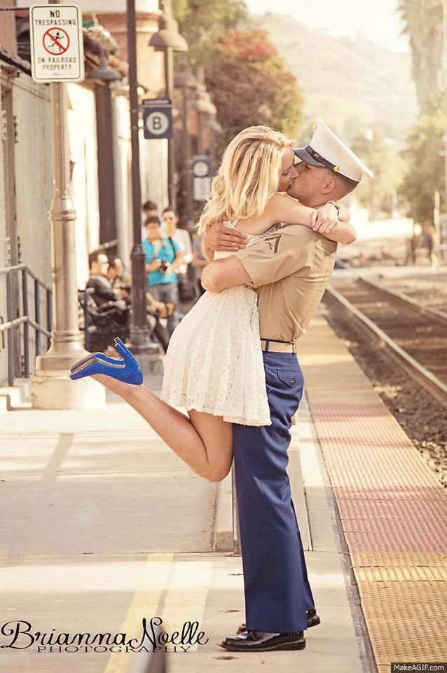 Marine and his girlfriend. Love her outfit!