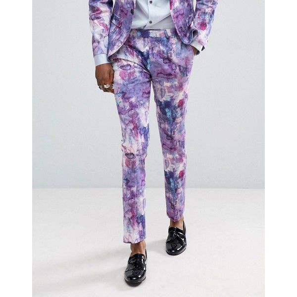 Noose & Monkey Wedding Super Skinny Suit Pants In Print ($103) ❤ liked on Polyvore featuring men's fashion, men's clothing, men's pants, men's dress pants, purple, mens zip off pants, mens skinny dress pants, mens super skinny dress pants, mens skinny pants and mens zipper pants