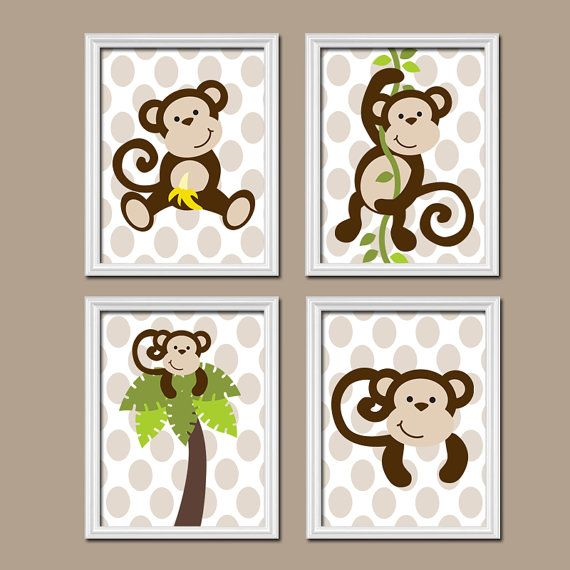 Boy MONKEY Wall Art, CANVAS Or Prints, MONKEY Nursery Artwork, Bathroom  Jungle Animal Theme, Playroom Polka Dot, Set Of 4, Boy Bedroom Decor