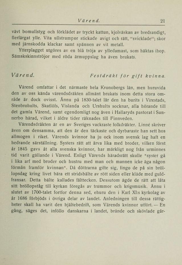 """SE Värend. I """"Svenska allmogedräkter"""" av Gerda Cederblom."""