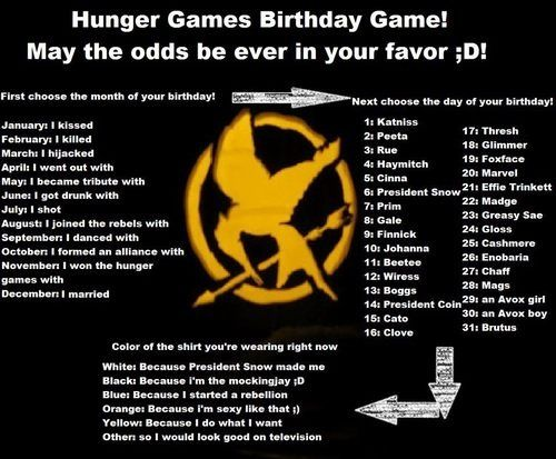 Hunger games birthday game. I killed Coin because I DO WHAT I WANT