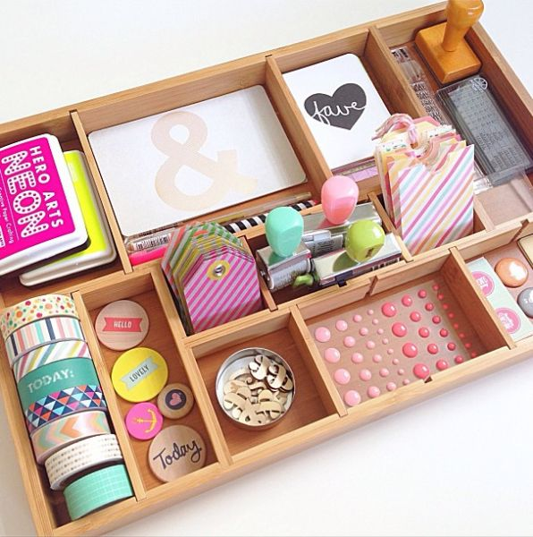Love this divided tray for organizing craft supplies #BabyCenterBlog