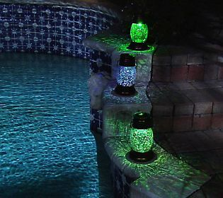 Solar Powered Crackled Glass Lantern with Shepherds Hook
