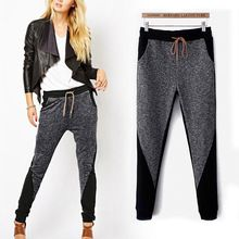 2016 Lazy Style Women Patchwork Harem Pants Sports Leggings Long Trousers Cotton Sweatpants Clothing Hip Hop Training Pants(China (Mainland))
