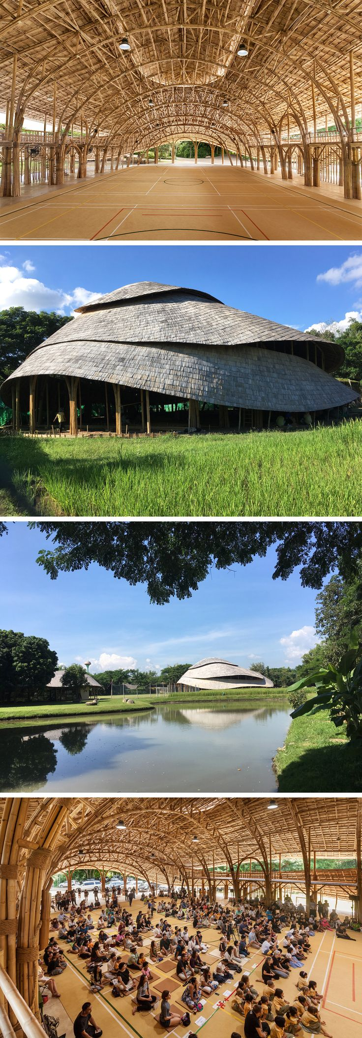 A Bamboo Recreation Facility Inspired by the Lotus Blooms in Thailand